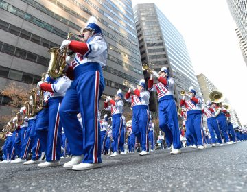 Members of the Morgantown WV High School Marching Band battled the wind this year (Jonathan Wilson for WHYY)