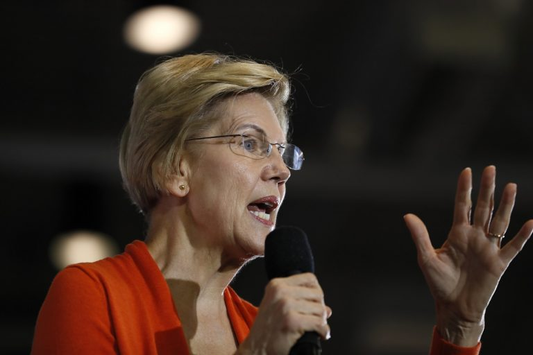 Democratic presidential candidate Sen. Elizabeth Warren, D-Mass., speaks during a town hall meeting at Grinnell College, Monday, Nov. 4, 2019, in Grinnell, Iowa. (AP Photo/Charlie Neibergall)