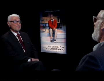 Film critic Patrick Stoner (left) interviews Tom Hanks (right) for his new movie, 'A Beautiful Day in the Neighborhood,' where Hanks plays Fred Rogers.  (Flicks)