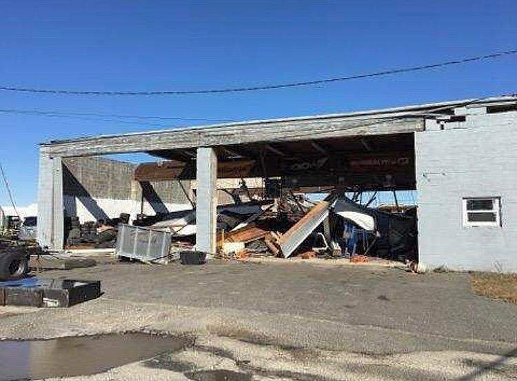 Damage on the Monmouth Jet Center property last Friday. (Courtesy of Jan Humphreys)