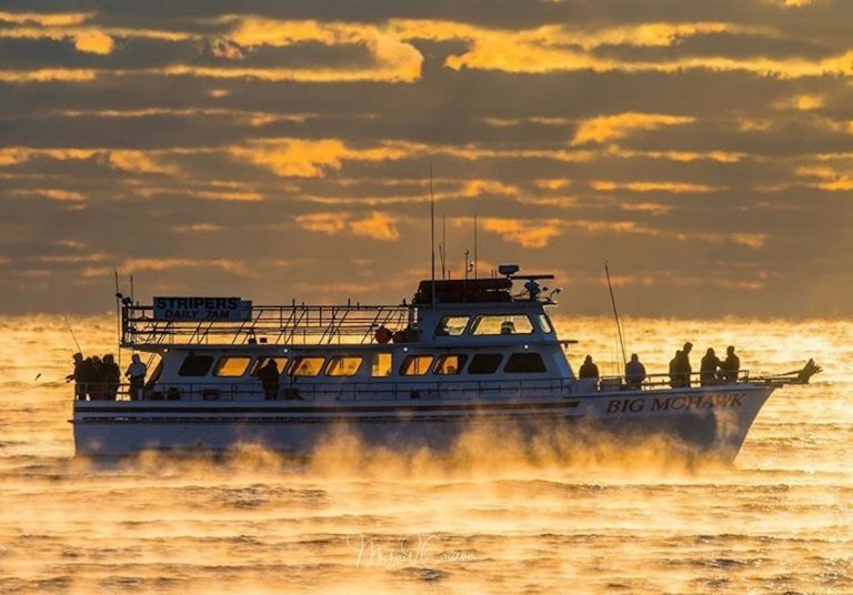 A fishing boat is enveloped by sea smoke off Spring Lake, New Jersey on Saturday, November 9. (Image courtesy of Mike Casella)