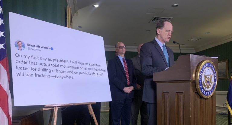 Sen. Pat Toomey speaks in Harrisburg on Nov. 8, 2019. He sponsored a bill aimed at barring future presidents from banning fracking. (Katie Meyer/WITF)