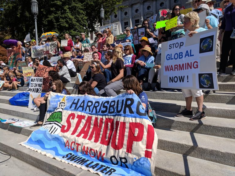 Demonstrators gather on the steps of the state capitol in Harrisburg to demand action on climate change on Friday, September 20, 2019. (Rachel McDevitt/WITF)