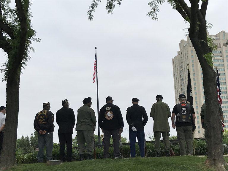 Veterans gather at the Philadelphia Vietnam Veterans Memorial on Memorial Day. (Peter Tobia for WHYY)