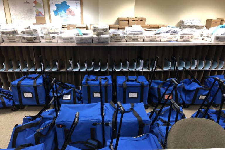 Bags for ballots sit in the York County elections office on Nov. 6, 2019. (Ed Mahon/PA Post)
