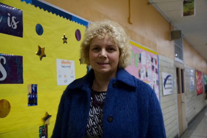 Marilyn Howarth, an occupational and environmental medicine physician, was asked by Mastery to speak to parents about the effects of lead at Frederick Douglass Elementary. She said no amount of lead in drinking water is safe. (Kimberly Paynter/WHYY)