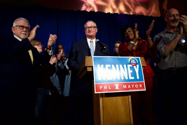 Philadelphia Mayor Jim Kenney was elected to another term Tuesday. He joined supporters at IATSE Local 8 in South Philadelphia. (Kimberly Paynter/WHYY)