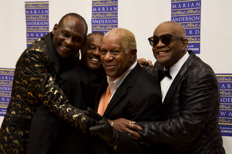 The founding members of Kool & The Gang, (from left) George Brown, Robert 'Kool' Bell, Dennis D. T. Thomas, and Claydes Charles Smith, were given the Marian Anderson Award in Philadelphia Tuesday. (Kimberly Paynter/WHYY)