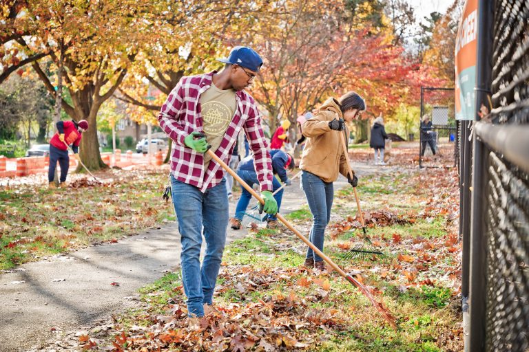 Volunteers raking leaves at Cobbs Creek Park during 2018's Love Your Park Fall Service Day. (Courtesy of Steve Belkowitz)