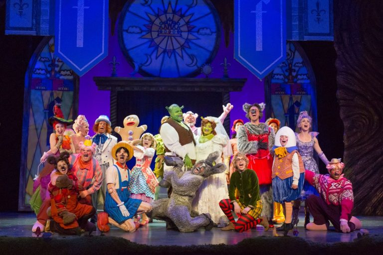 Where is Shrek in the ensemble shot from Walnut Street Theatre's main stage? Hint: He's sorta green. (Photo courtesy of Mark Garvin)