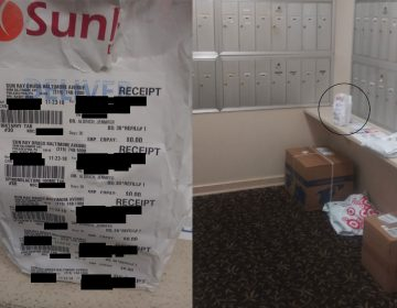 Jane Doe's prescription drugs, clearly labeled, were left in her Delaware County apartment building's common mailroom. (Photos courtesy of Jane Doe)