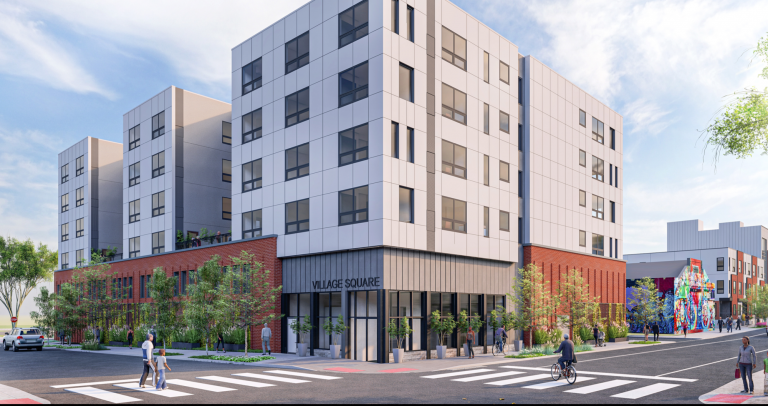 An artist's rendering of the Village Square on Haverford development, as seen from the intersection of 37th Street and Haverford Avenue. (WRT/Lomax Real Estate)