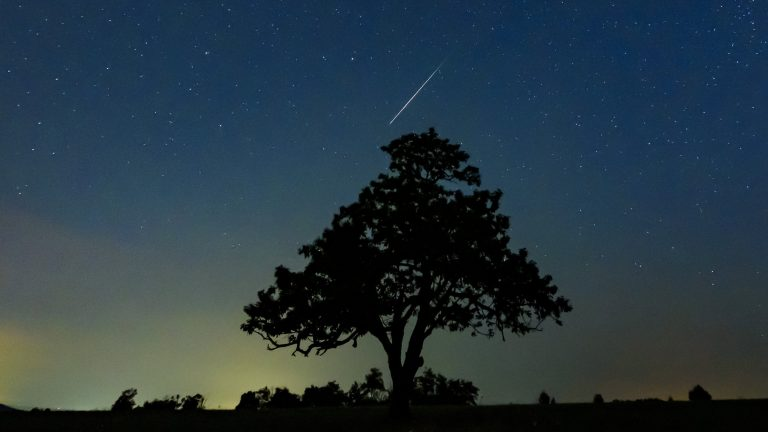 Part of the Perseid meteor shower, seen in Salgotarjan, Hungary, on Aug. 13. Two astronomers predict the Alpha Monocerotids showers will be a more intense showing. (Peter Komka/AP Photo)