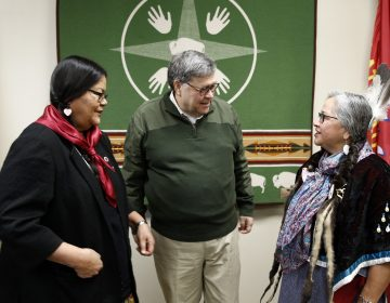 Attorney General William Barr speaks with Myrna DuMontier (left) and Charmel Gillin (right), councilwomen with the Confederated Salish and Kootenai Tribes on the Flathead Reservation in Pablo, Mont. (Patrick Semansky/AP Photo)
