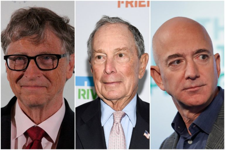 From left to right: Bill Gates, Michael Bloomberg, Jeff Bezos (AP image)