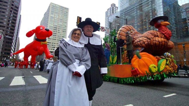 The Philadelphia Thanksgiving Day Parade has reached its 100th year. In a scene from the 2018 parade, pilgrims, a turkey, and Clifford the Big Red Dog make their way through Center City. (Bastiaan Slabbers for WHYY)