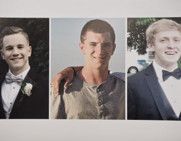 (From left) Jimi Patrick, 19, Dean Finocchiaro, 19, and Thomas Meo, 21, along with Mark Sturgis, 22, (not pictured) were murdered in July 2017. Sean Kratz was found guilty of first-degree murder for the slaying of Finocchiaro and guilty of voluntary manslaughter in the deaths of Meo and Sturgis. Kratz's cousin, Cosmo DiNardo is serving four life sentences for the murders of the four men. (Kimberly Paynter/WHYY, file)