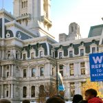 Philadelphians march for civil rights outside City Hall in 2016 (Alexa Smith for Billy Penn)