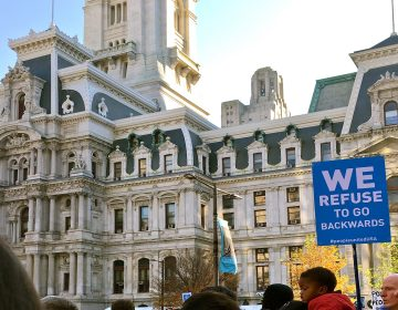 Philadelphians march for civil rights outside City Hall in 2016. (Alexa Smith/Billy Penn)
