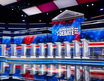 In this Tuesday, Nov. 19, 2019 photo, the stage for the Democratic presidential primary debate is shown before Wednesday's debate in Atlanta. (AP Photo/John Amis)