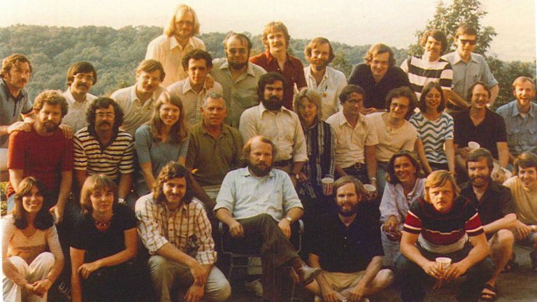 "The team known informally as the ""environmental strike force,"" in 1974. Front row, left to right: Elissa Parker; Barb Brandon; Pat McGinley; Bill Eichbaum; Jack Krill; Betsy McCoubrey; Tom Burke; Dennis Coyne; Dennis Strain. Second row, left to right: Eric Pearson; Paul Burroughs; Maxine Woelfling; Bill Oberdorfer; John Carroll; Karin Carter; Tom Oravetz; Bob Shusterman; Fran Dubrowski; Dennis Harnish; Ward Kelsey. Back row, left to right: Gene Dice; Tim Weston; Doug Blazey; Doug White (behind Blazey); Drew Dorfman; Dick Ehmann; Terry Bossert; Bob Yuhnke; Jim Rochow; Ralph Kates; Mike Alushin. (Provided)"