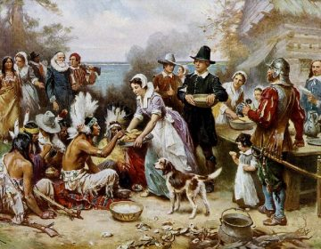 (The First Thanksgiving by J.L.G. Ferris. circa 1912/Wikimedia Commons)