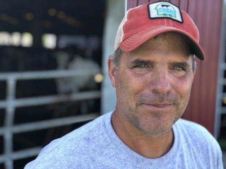 Peter Melnik, a fourth-generation dairy farmer, owns Bar-Way Farm, Inc. in Deerfield, Mass. He has an anaerobic digester on his farm that converts food waste into renewable energy. (Allison Aubrey/NPR)