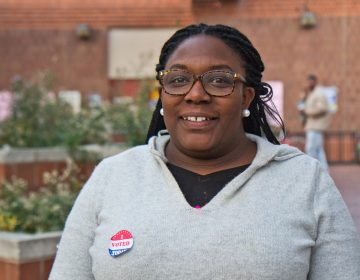Working Families Party candidate for City Council-at-large Kendra Brooks, at East Passyunk Recreation Center in South Philly on Election Day. (Kimberly Paynter/WHYY)