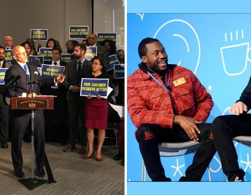 (Left) Pa. Sen. Vincent Hughes surrounded by other Pa. officials; (Right) Meek Mill and Michael Rubin (Layla A. Jones for Billy Penn and Screenshoot/Breakfast Club)