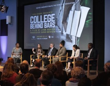 WHYY's Annette John-Hall moderates a panel after a screening of
