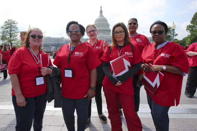 Nurses from National Nurses United gathered in Washington, D.C. on April 29 and 30 for their annual Lobby Day. (Image by Jaclyn Higgs, National Nurses United, 2019)