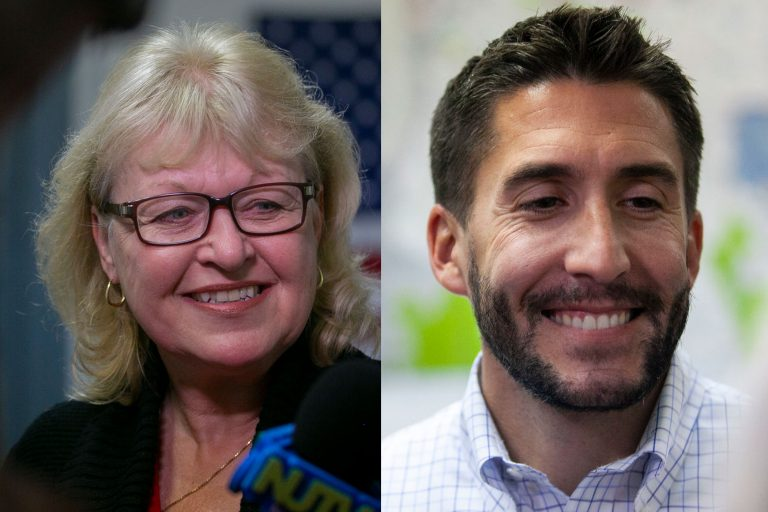 Republicans Jean Stanfield (left) and Ryan Peters (right) both won on election night (Miguel Martinez for WHYY)