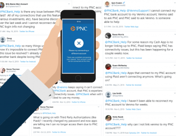 For months, PNC Bank customers have complained about connectivity failures between their accounts and third-party services, including Venmo. (Graphic by Sarah Kovash/WESA)