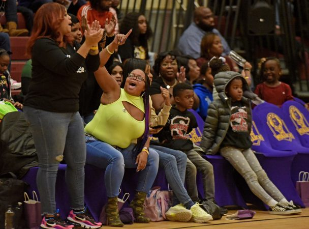Fans cheer the Camden Monarchs at a November 10 game against the Jersey Express. (April Saul for WHYY)