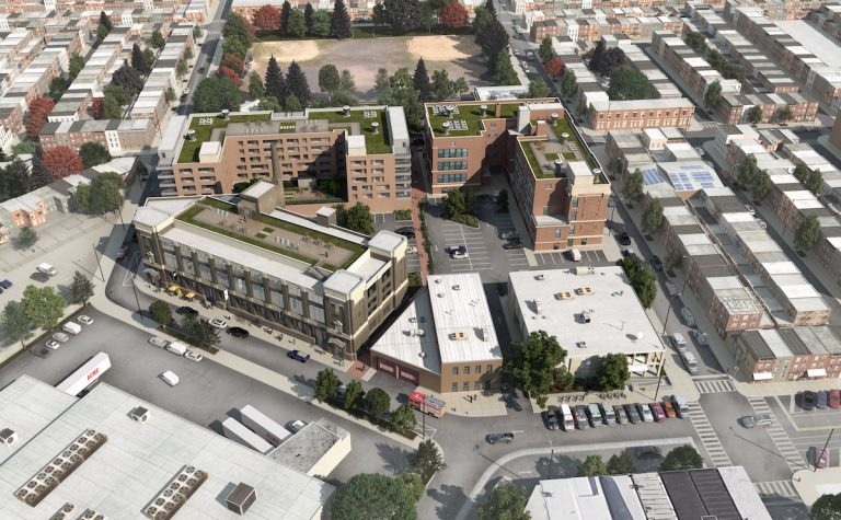 Alterra's rendering shows a birds-eye view of the mixed-use development planned for land now occupied by city buildings. (Courtesy Alterra Property Group)