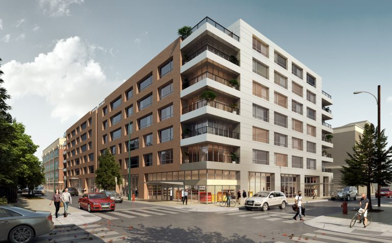 An artist's illustration shows an apartment development planned for 1100 Wharton St. (Courtesy Alterra Property Group)