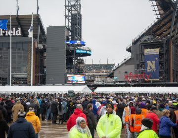 Thousands gather at Lincoln Financial Field for 120th Annual Army-Navy Game on Dec. 14, 2019 in Philadelphia. (Emily Cohen for WHYY)