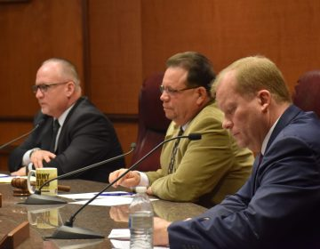 Dauphin County Commissioners George Hartwick, Jeff Haste and Mike Pries before voting 2-1 to negotiate a contract with Clear Ballot for new voting machines during a special session Monday in Harrisburg. Haste voted against it. (Emily Previti/PA Post)
