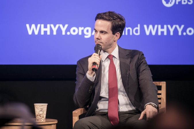 Washington Week and national political reporter for The Washington Post, Robert Costa, speaks with Fresh Air's Dave Davies at WHYY on Saturday, December 7. (Miguel Martinez/WHYY)