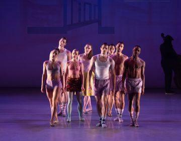 Dancers (from left) Francesca Forcella, Blake Krapels, Skyler Lubin, Chloe Perkes, Zachary Kapeluck, Caili Quan, Richard Villaverde, Roderick Phifer. (Photo by Vikki Sloviter, courtesy of BalletX)