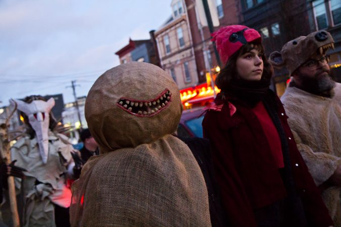 Spirits march through Northern Liberties at the 2019 Parade of Spirits. (Kimberly Paynter/WHYY)