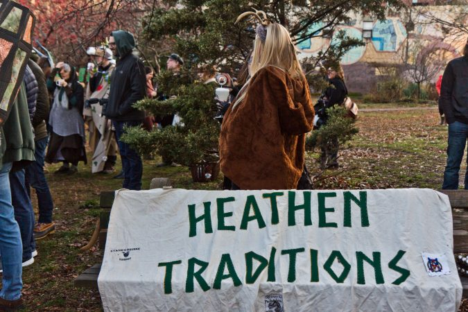 The Philadelphia Parade of Spirits is inspired by Krampuslauf, a central European tradition honoring the half-goat, half-demon Krampus, who punishes naughty children. Participants also bring their own beliefs and dress as their darker sides. (Kimberly Paynter/WHYY)