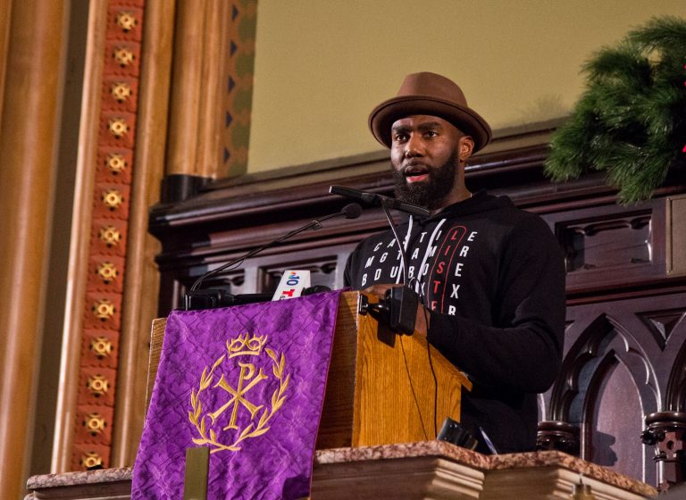 Malcolm Jenkins, safety on the Philadelphia Eagles, speaks at a police reform rally at the Arch Street United Methodist Church. (Kimberly Paynter/WHYY)
