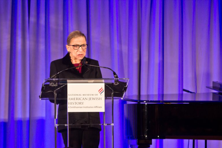 Supreme Court Justice Ruth Bader Ginsburg at the National Museum of American Jewish History. (Kimberly Paynter/WHYY)