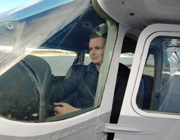 Nathan Stone, 18, is a student at FlyGATEWAY at the New Castle Airport in Delaware. The accelerated flight program wants to offer scholarships to make the pilot career more accessible. (Zoë Read/WHYY)