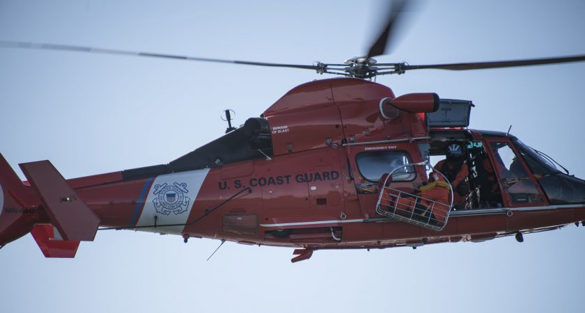 A U.S. Coast Guard helicopter participating in SERE training. (U.S. Air Force photo by Senior Airman Ariel Owings)