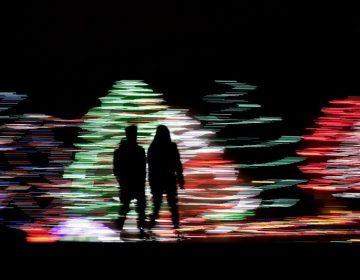 People silhouetted against a Christmas display, at a park in Lenexa, Kan. Most Americans say the holiday season makes them feel very grateful and generous — but many report feeling stressed, too according to a new poll from The Associated Press-NORC Center for Public Affairs Research. (Charlie Riedel/AP Photo)