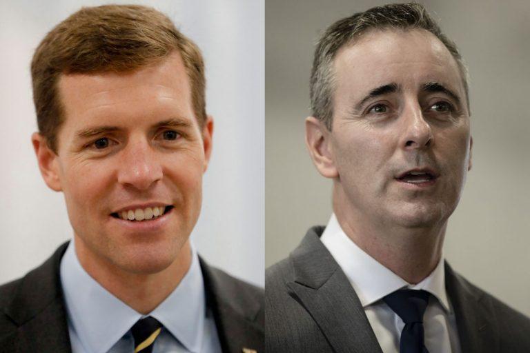 Rep. Conor Lamb (left) and Rep. Brian Fitzpatrick (right). (Keith Srakocic and Matt Rourke/AP Photo)