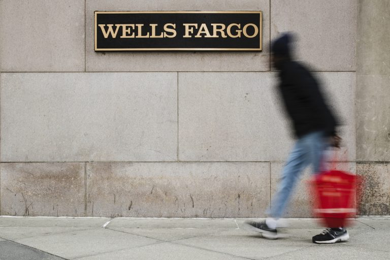 This Nov. 29, 2018, photo shows a Wells Fargo bank location in Philadelphia. (Matt Rourke/AP Photo)