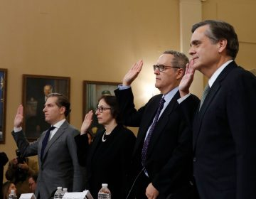 From left, Constitutional law experts, Harvard Law School professor Noah Feldman, Stanford Law School professor Pamela Karlan, University of North Carolina Law School professor Michael Gerhardt and George Washington University Law School professor Jonathan Turley are sworn in before testifying during a hearing before the House Judiciary Committee on the constitutional grounds for the impeachment of President Donald Trump, on Capitol Hill in Washington, Wednesday, Dec. 4, 2019. (AP Photo/Alex Brandon)